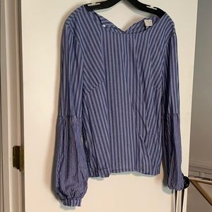 Menswear inspired top with bell sleeves